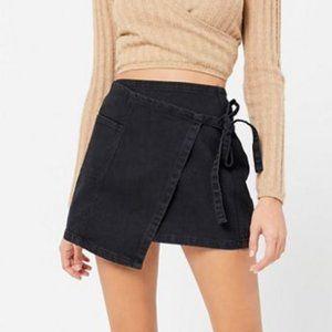BDG Denim Mini Wrap Skirt